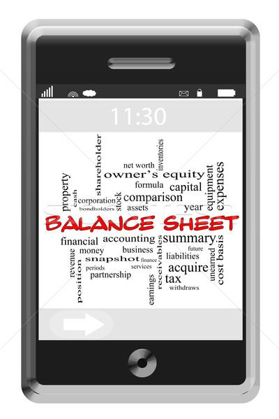 Balance Sheet Word Cloud Concept on Touchscreen Phone Stock photo © mybaitshop