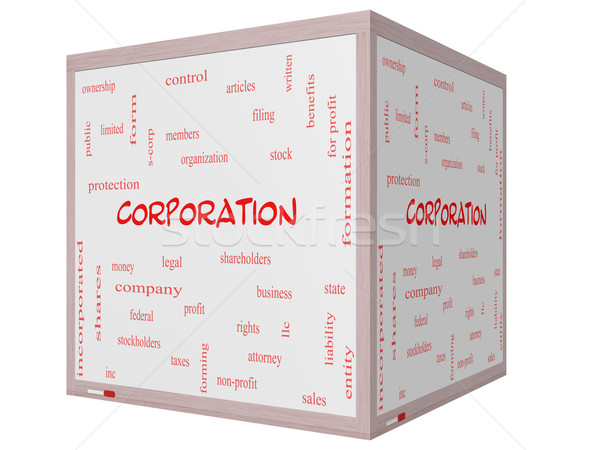 Corporation Word Cloud Concept on a 3D cube Whiteboard Stock photo © mybaitshop