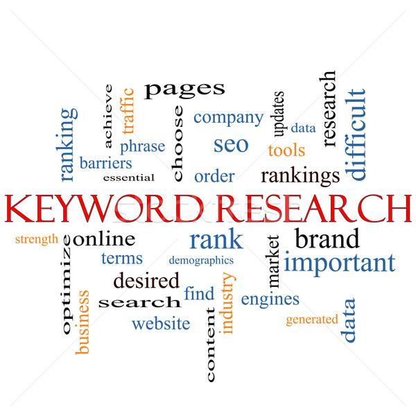 Trefwoord onderzoek woordwolk groot om Stockfoto © mybaitshop