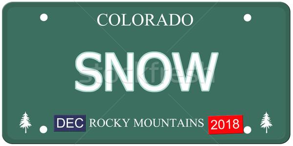 снега Колорадо номерной знак поддельный слово Сток-фото © mybaitshop