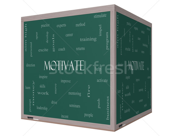 Motivate Word Cloud Concept on a 3D cube Blackboard Stock photo © mybaitshop