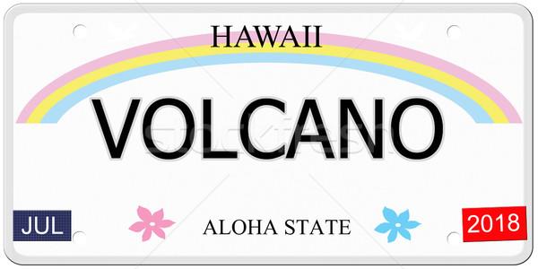 Vulkán Hawaii rendszámtábla írott utánzás aloha Stock fotó © mybaitshop