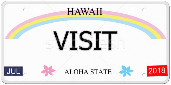 Bezoeken Hawaii kentekenplaat geschreven imitatie aloha Stockfoto © mybaitshop