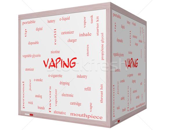 Szófelhő 3D kocka tábla nagyszerű nikotin Stock fotó © mybaitshop