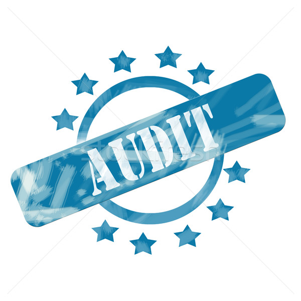 Azul resistiu auditar carimbo círculo estrelas Foto stock © mybaitshop