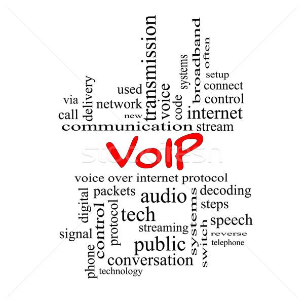Voip woordwolk Rood groot stem internet Stockfoto © mybaitshop
