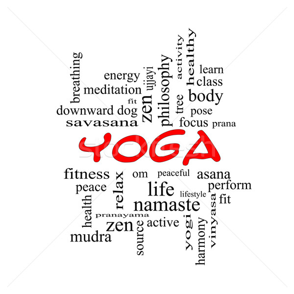 Yoga Word Cloud Concept in red caps Stock photo © mybaitshop