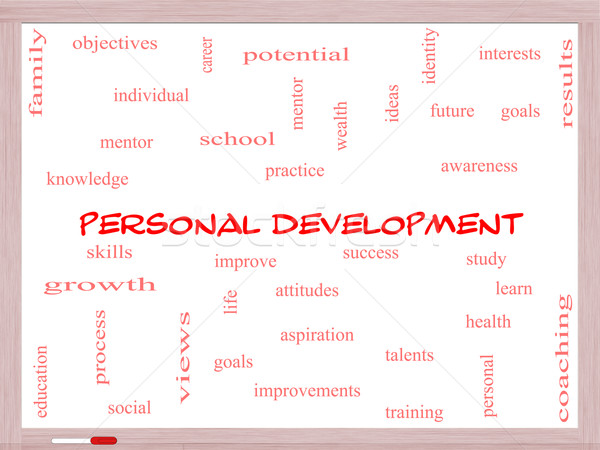 Personal Development Word Cloud Concept on a Whiteboard Stock photo © mybaitshop