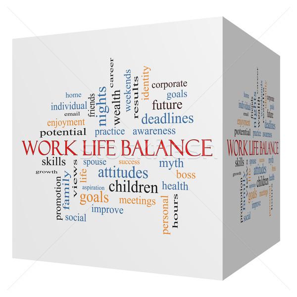 Work Life Balance 3D cube Word Cloud Concept Stock photo © mybaitshop