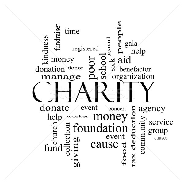 Charity Word Cloud Concept black and white Stock photo © mybaitshop
