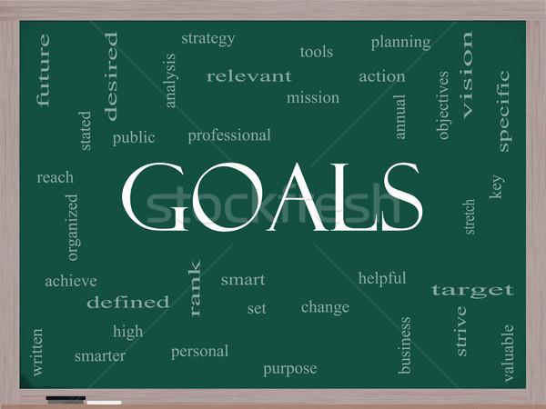 Goals Word Cloud Concept on a Blackboard Stock photo © mybaitshop