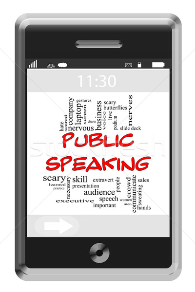 Public Speaking Word Cloud Concept on Touchscreen Phone Stock photo © mybaitshop