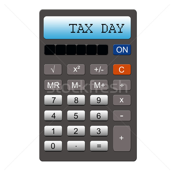 Impuesto día calculadora imitación palabras escrito Foto stock © mybaitshop