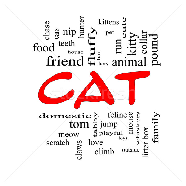 Cat Word Cloud Concept in red caps Stock photo © mybaitshop