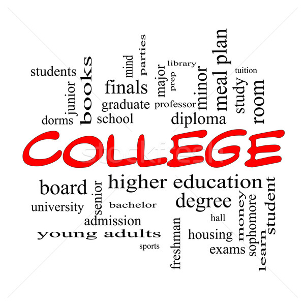 College Word Cloud Concept in red caps Stock photo © mybaitshop