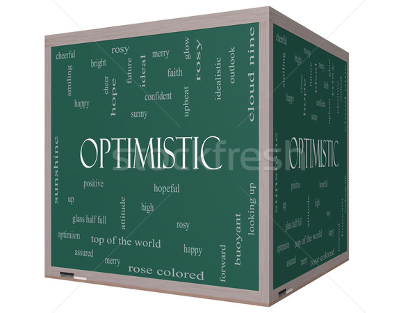 Optimistic Word Cloud Concept on a 3D cube Blackboard Stock photo © mybaitshop