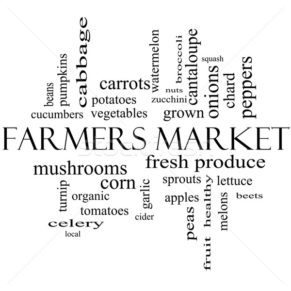 Stock photo: Farmers Market Word Cloud Concept in black and white