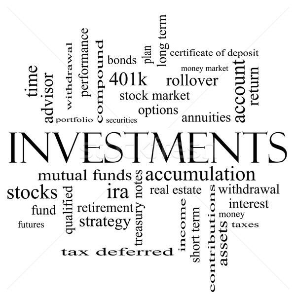 Foto stock: Investimentos · nuvem · da · palavra · preto · e · branco · mútuo · fundos
