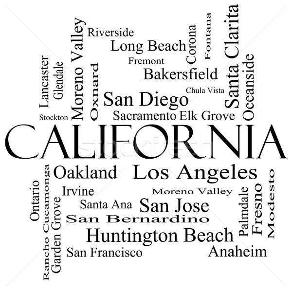 California State Word Cloud Concept in black and white Stock photo © mybaitshop