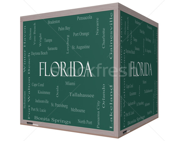 Florida State Word Cloud Concept on a 3D cube Blackboard Stock photo © mybaitshop