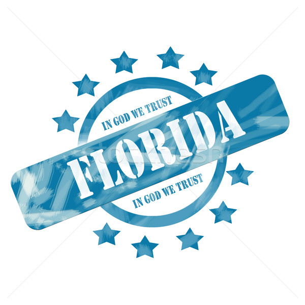 Blue Weathered Florida Stamp Circle and Stars Design Stock photo © mybaitshop