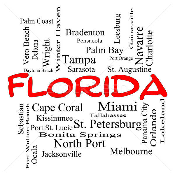 Florida State Word Cloud Concept in red caps Stock photo © mybaitshop