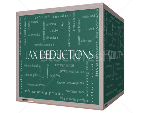 Tax Deductions Word Cloud Concept on a 3D cube Blackboard Stock photo © mybaitshop
