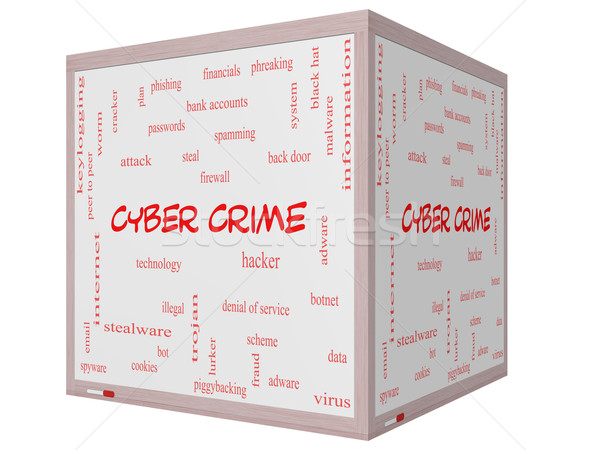Cyber Crime Word Cloud Concept on a 3D cube Whiteboard Stock photo © mybaitshop