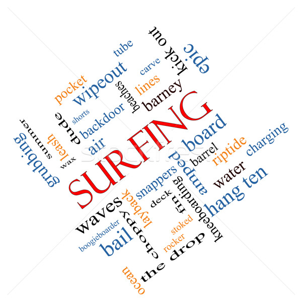 Surfing Word Cloud Concept Angled Stock photo © mybaitshop