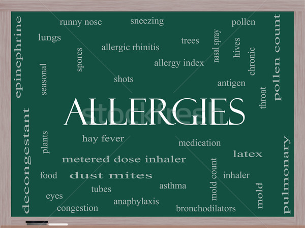 Allergies Word Cloud Concept on a Blackboard Stock photo © mybaitshop