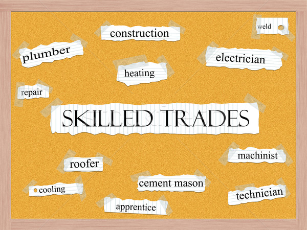 Skilled Trades Corkboard Word Concept Stock photo © mybaitshop