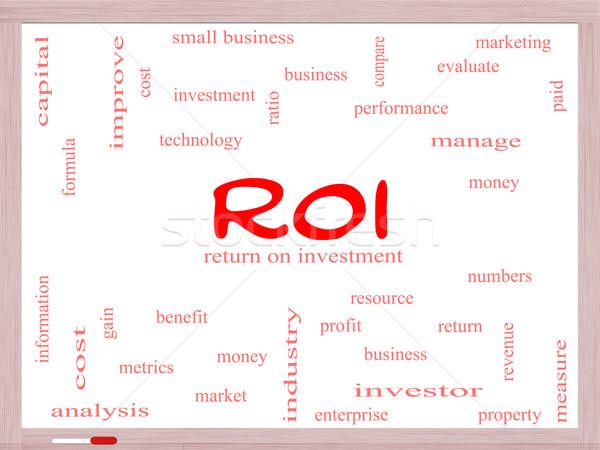 Roi szófelhő tábla nagyszerű visszatérés beruházás Stock fotó © mybaitshop