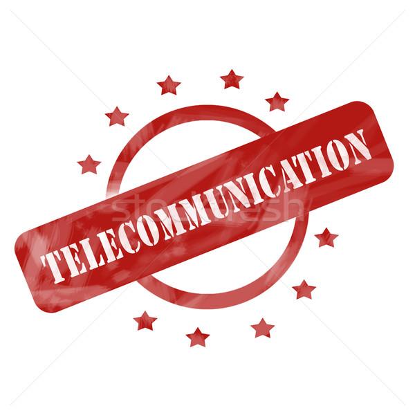Piros viharvert telekommunikáció bélyeg kör csillagok Stock fotó © mybaitshop