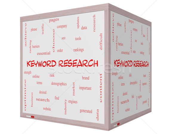 Keyword Research Word Cloud Concept on a 3D cube Whiteboard Stock photo © mybaitshop