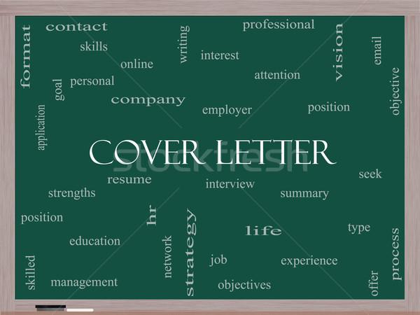 Borító levél szófelhő iskolatábla nagyszerű interjú Stock fotó © mybaitshop