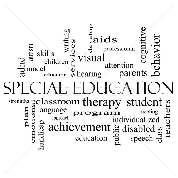 Special Education Word Cloud Concept in black and white Stock photo © mybaitshop