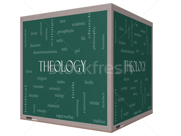 Theology Word Cloud Concept on a 3D cube Blackboard Stock photo © mybaitshop