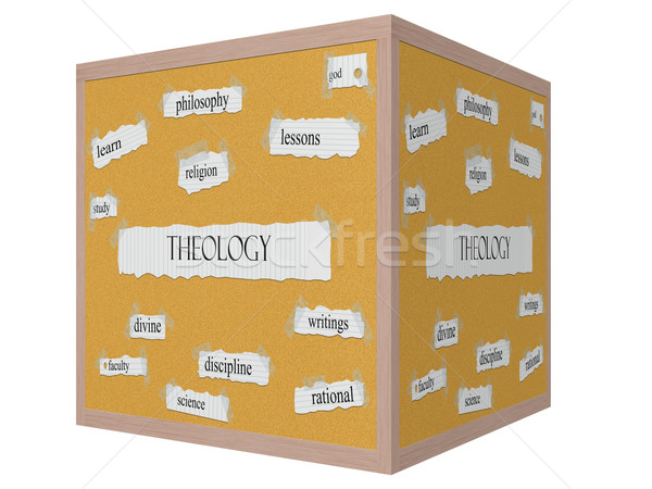 Theology 3D cube Corkboard Word Concept Stock photo © mybaitshop