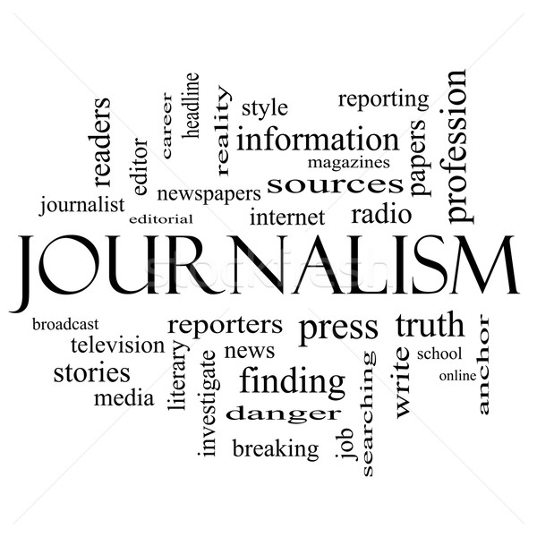 Journalsim Word Cloud Concept in black and white Stock photo © mybaitshop