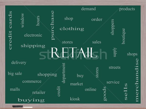 Retail Word Cloud Concept on a Blackboard Stock photo © mybaitshop