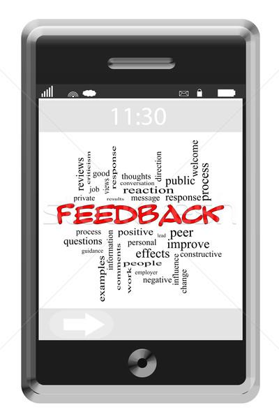 Feedback nube de palabras pantalla táctil teléfono Foto stock © mybaitshop