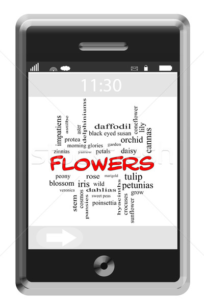 Flowers Word Cloud Concept on a Touchscreen Phone Stock photo © mybaitshop
