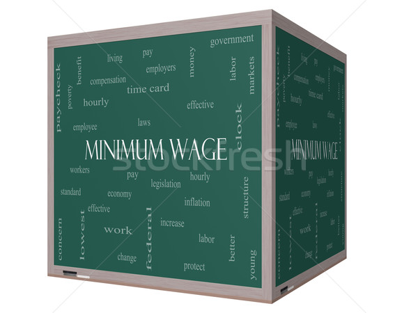 Minimum Wage Word Cloud Concept on a 3D cube Blackboard Stock photo © mybaitshop