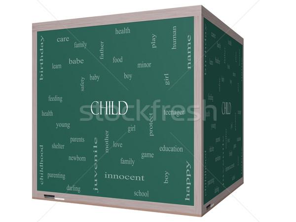Child Word Cloud Concept on a 3D cube Blackboard Stock photo © mybaitshop
