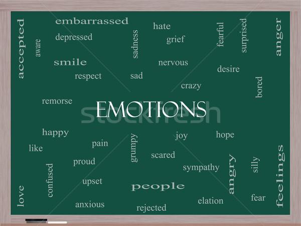 Emociones nube de palabras pizarra triste feliz Foto stock © mybaitshop