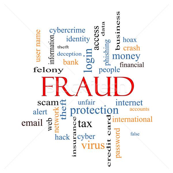 Csalás szófelhő nagyszerű éber személyazonosság-lopás több Stock fotó © mybaitshop