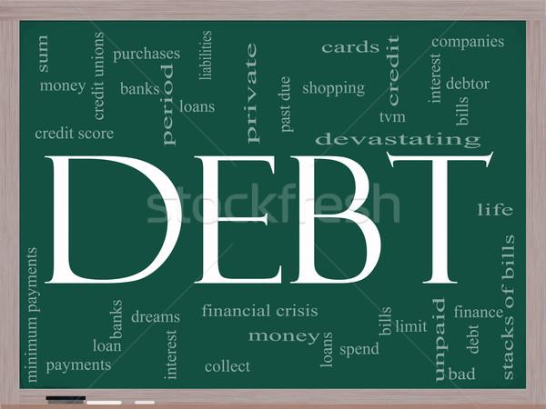 Debt Word Cloud Concept on a Chalkboard Stock photo © mybaitshop