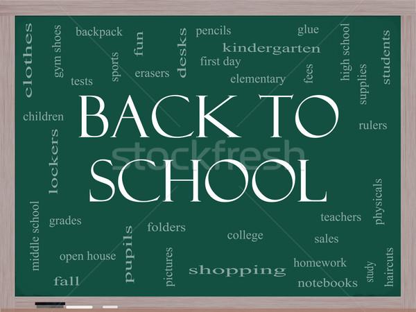 Back to School Word Cloud Concept on a Blackboard Stock photo © mybaitshop