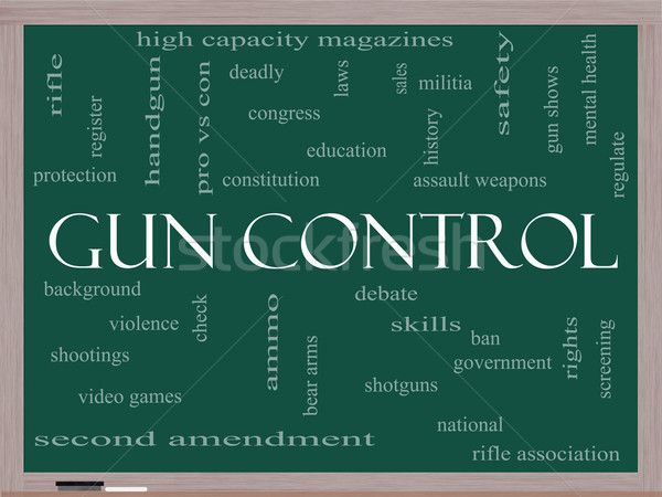 Gun Control Word Cloud Concept on a Blackboard Stock photo © mybaitshop