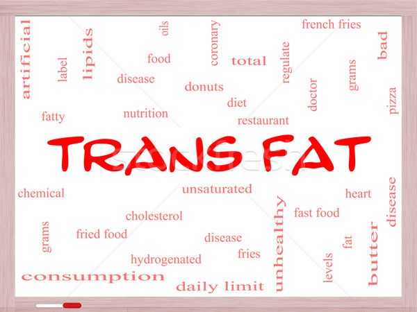 Trans Fat Word Cloud Concept on a Whiteboard Stock photo © mybaitshop